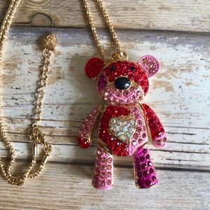 NEW✨ Betsey Johnson Red Pink Teddy Bear Necklace